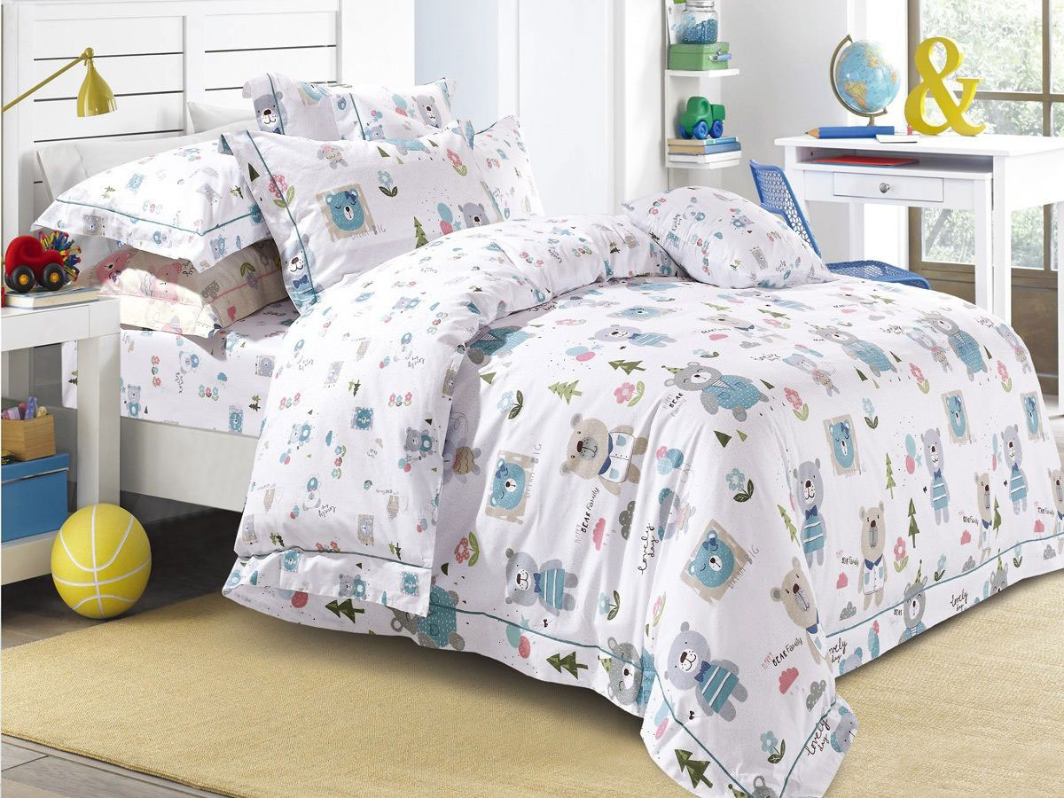 Cleo Комплект в кроватку Лесные мишки 3 предмета цвет белый -  Детский текстиль