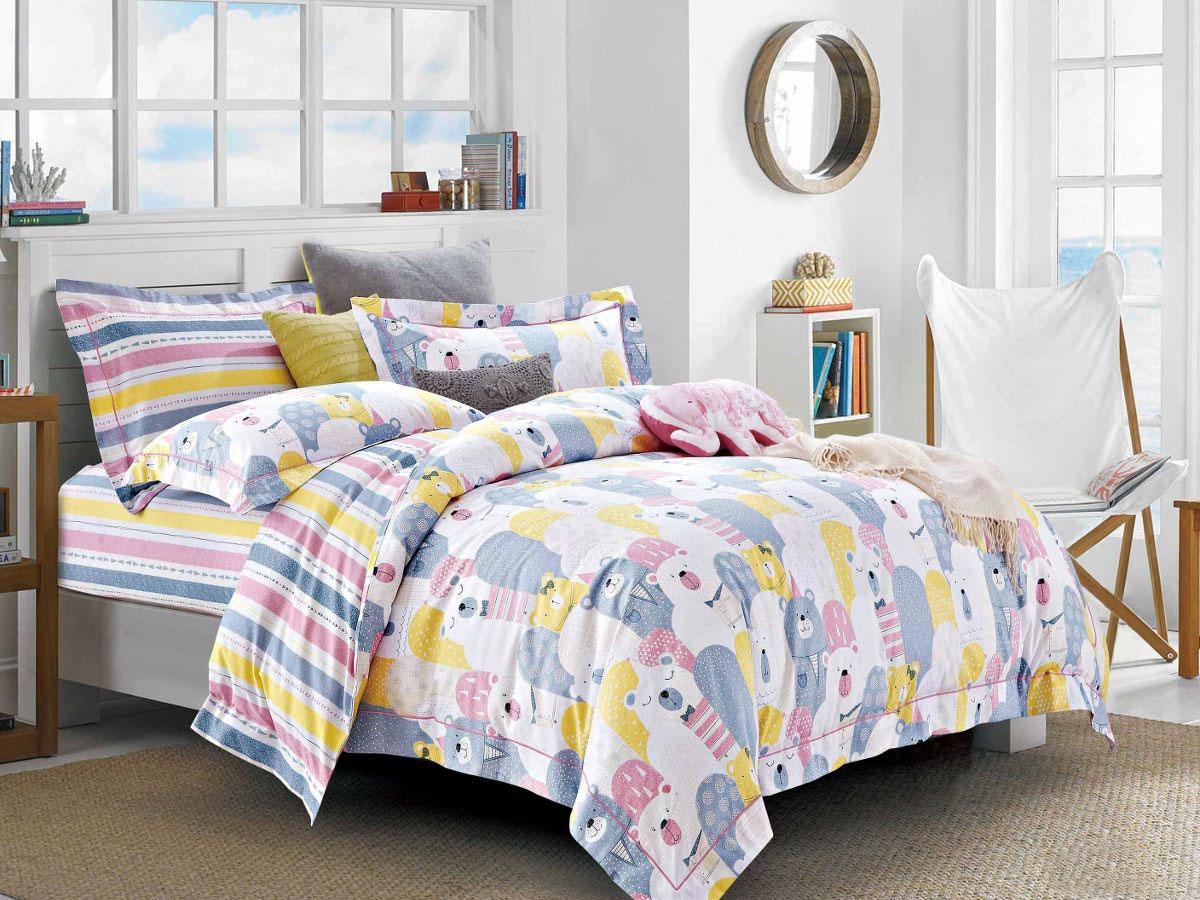 Cleo Комплект в кроватку Мишки 3 предмета цвет голубой