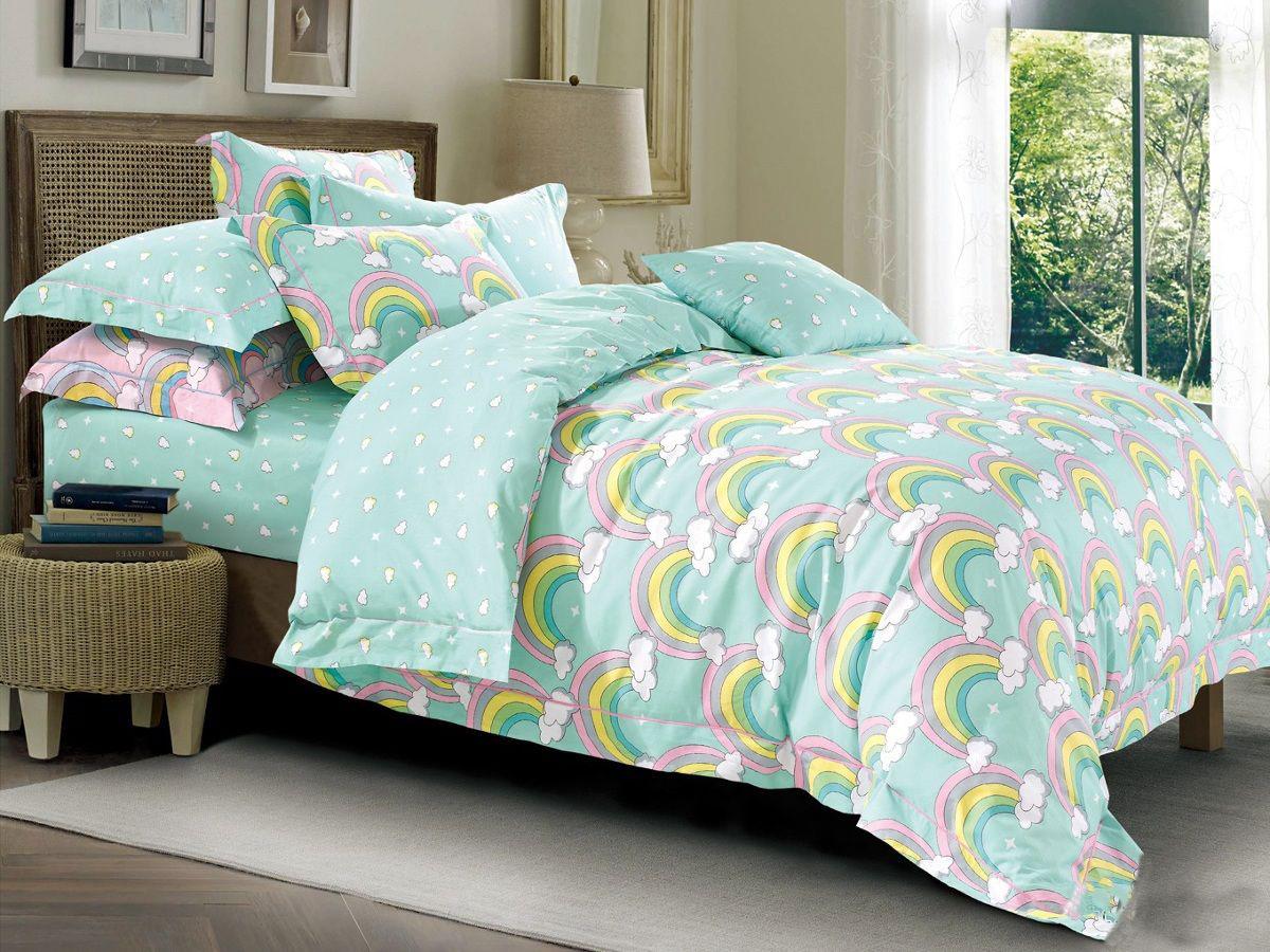 Cleo Комплект в кроватку Радуга 3 предмета цвет зеленый -  Детский текстиль