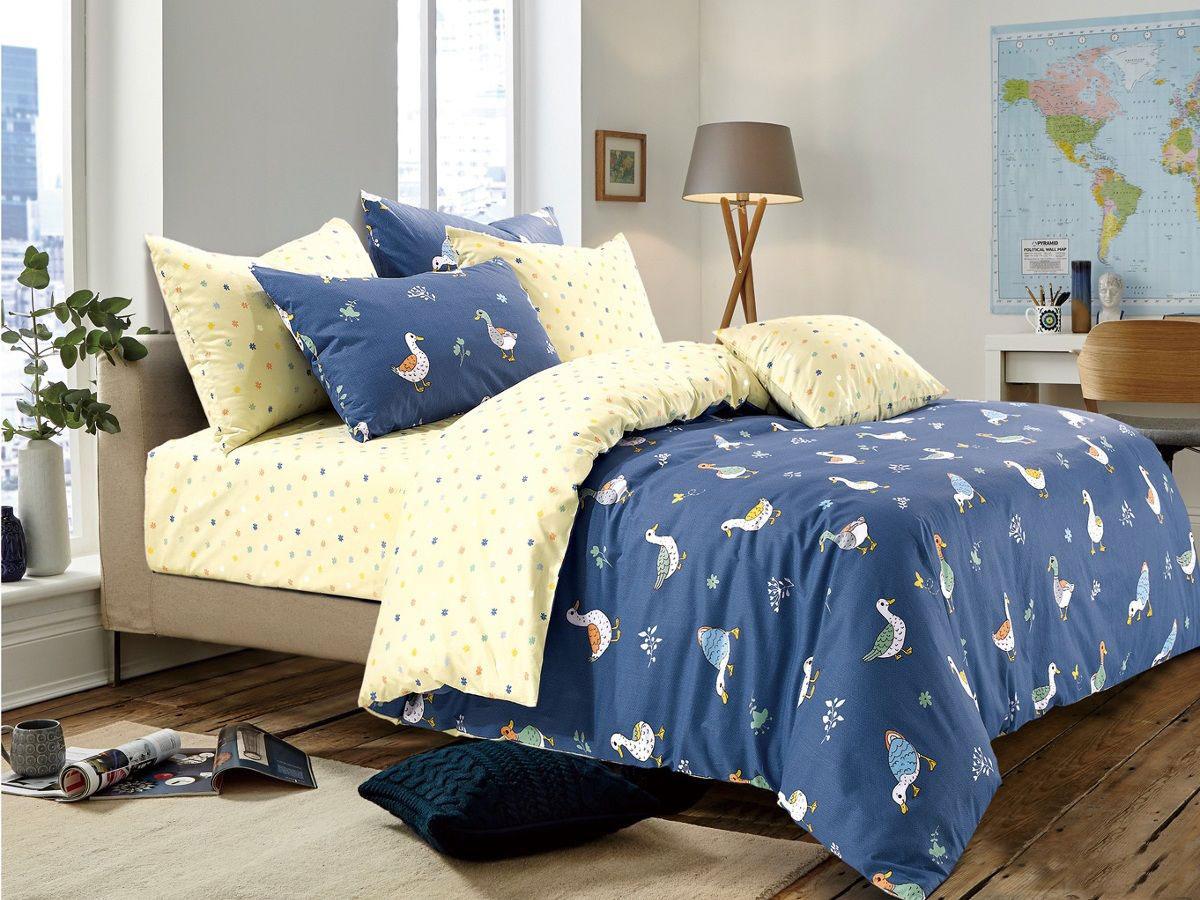 Cleo Комплект в кроватку Уточки 3 предмета цвет синий -  Детский текстиль