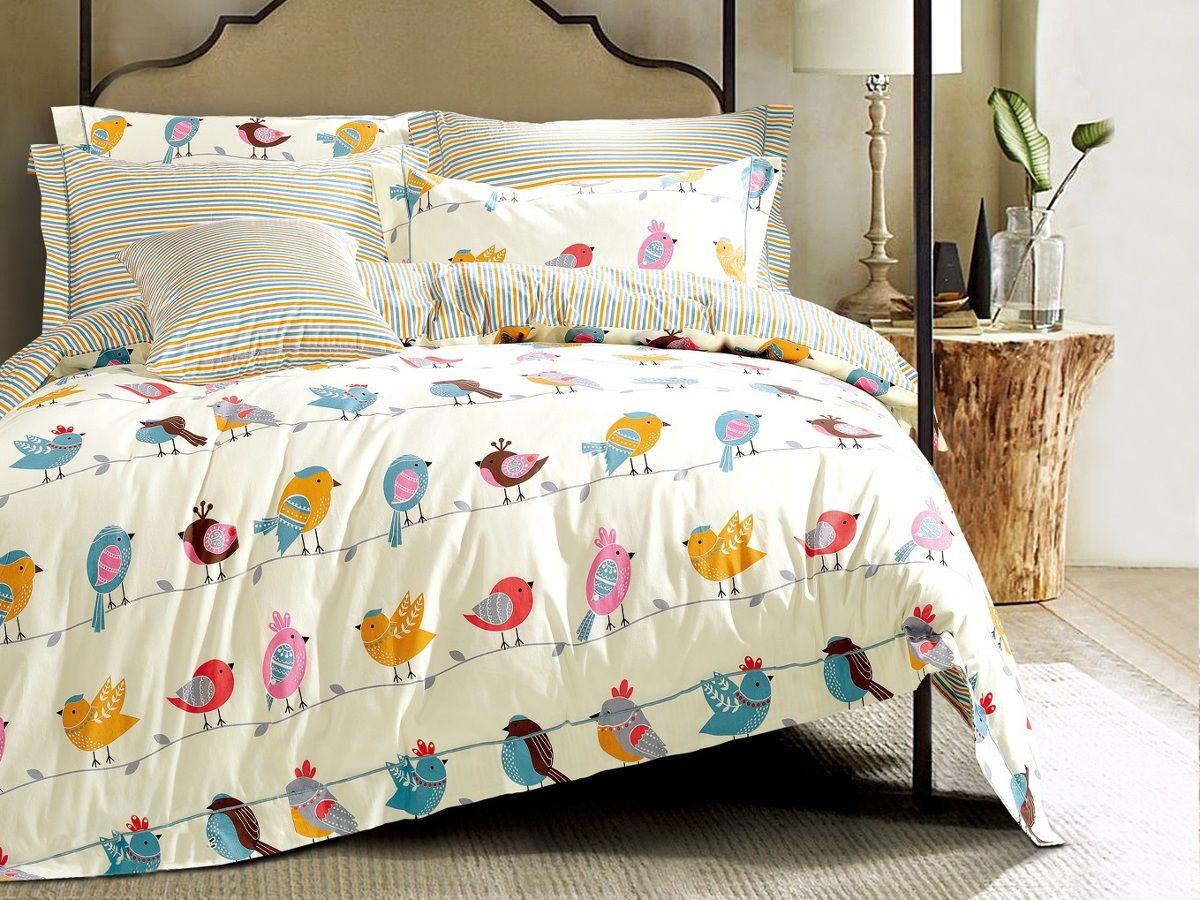 Cleo Комплект в кроватку Пташки 3 предмета цвет бежевый -  Детский текстиль
