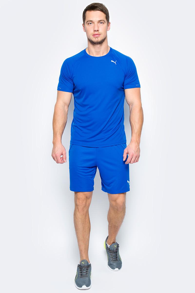 Футболка для бега мужская Puma Core-Run S/S Tee, цвет: голубой. 51500812. Размер XXL (52/54)51500812Футболка Core-Run S/S Tee изготовлена с использованием высокофункциональной технологии dryCELL, которая отводит влагу, поддерживает тело сухим и гарантирует комфорт во время активных тренировок и занятий спортом. Легкий супердышащий материал изделия прекрасно держит форму и обеспечивает полный комфорт. Логотип и другие декоративные элементы, в том числе петлица сзади на горловине выполнены из светоотражающего материала и позаботятся о вашей безопасности в темное время суток. Плоские швы не натирают кожу и обеспечивают непревзойденный комфорт.