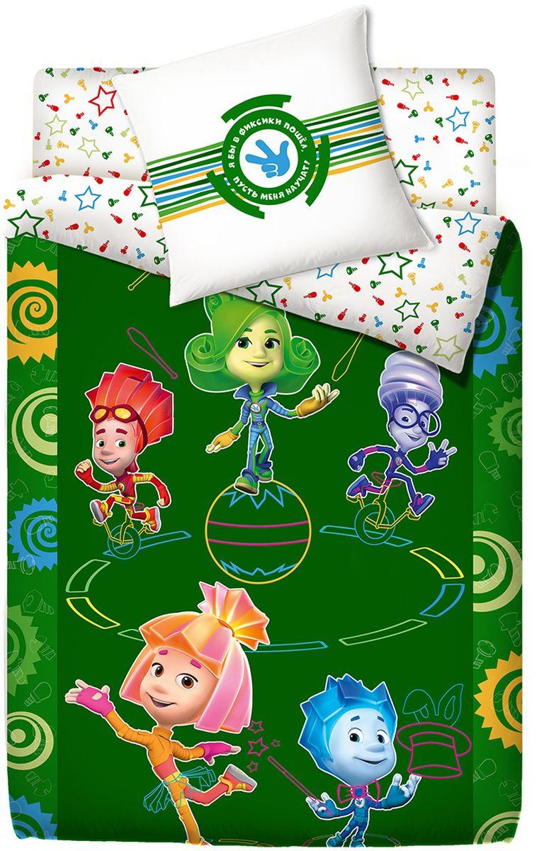 Комплект белья Фиксики Цирк, 1,5-спальный, наволочки 70x70, цвет: зеленый81366Комплект постельного белья Фиксики Цирк очень понравится вашему ребенку. Невероятно яркая и красочная коллекция с изображением любимых героев популярного мультсериала вызовет восторг у малыша. Производится из ткани LUX COTTON (аналог поплина): • Равноплотная ткань из 100% хлопка; • Обработана по технологии мерсеризации и санфоризации; • Мягкая и нежная на ощупь; • Устойчива к трению; • Обладает высокими показателями гигроскопичности (впитывает влагу); • Выдерживает частые стирки, сохраняя первоначальные цвет, форму и размеры; • Безопасные красители ведущего немецкого производителя BEZEMA; • Сертификаты ISO и EAC. Лауреат премии Золотой медвежонок.