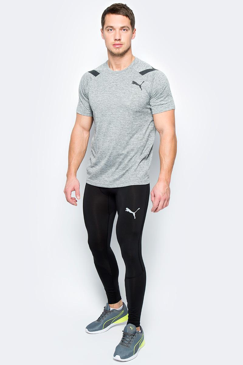 Тайтсы мужские Puma Energy Tech V2 Tight, цвет: черный. 51563301. Размер M (46/48)51563301Модель изготовлена с использованием высокофункциональной технологии DryCell, которая отводит влагу, поддерживает тело сухим и гарантирует комфорт во время активных тренировок и занятий спортом. Пояс изготовлен из эластичного материала, обеспечивающего дополнительное удобство, который также декорирован символикой Puma. Задняя кокетка и ластовица отделаны сетчатым материалом, что делает модель по настоящему дышащей. Изделие декорировано логотипом DryCell, нанесенным методом термопечати на пояс сбоку. Внизу сзади на правой штанине имеется вставка с тематическим рисунком с символикой Puma, актуальным в этом сезоне. Нижняя часть штанин имеет бесшовную конструкцию, что создает максимальный комфорт.