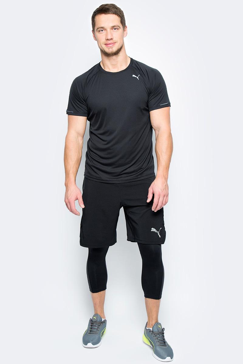 Футболка для бега мужская Puma Core-Run S/S Tee, цвет: черный. 51500801. Размер M (46/48)51500801Футболка Core-Run S/S Tee изготовлена с использованием высокофункциональной технологии dryCELL, которая отводит влагу, поддерживает тело сухим и гарантирует комфорт во время активных тренировок и занятий спортом. Легкий супердышащий материал изделия прекрасно держит форму и обеспечивает полный комфорт. Логотип и другие декоративные элементы, в том числе петлица сзади на горловине выполнены из светоотражающего материала и позаботятся о вашей безопасности в темное время суток. Плоские швы не натирают кожу и обеспечивают непревзойденный комфорт.