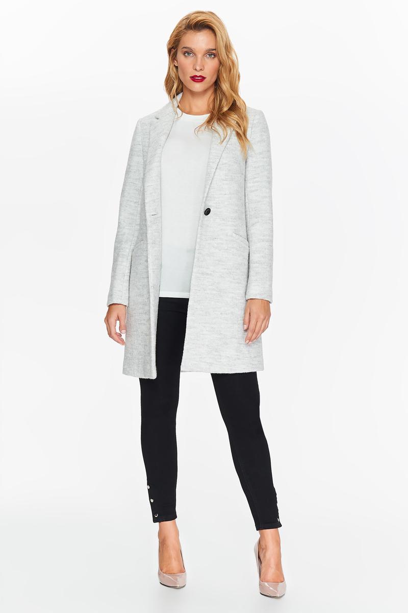 Пальто женское Top Secret, цвет: светло-серый. SPZ0401GB. Размер 36 (44)SPZ0401GBЖенское классическое пальто Top Secret выполнено из высококачественного материала. Модель с лацканами, свободного кроя, застегивается на одну контрастную пуговицу. Незаменимый вариант на каждый день, как в рабочей обстановке, так и в элегантном образе.