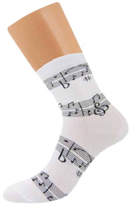 Носки женские Griff Music Нотки, цвет: белый. D3M1. Размер 35/38D3M1Всесезонные эластичные женские носки от Griff с оригинальным рисунком. Носки с комфортной резинкой, усилением пятки и мыска, с кеттельным швом.