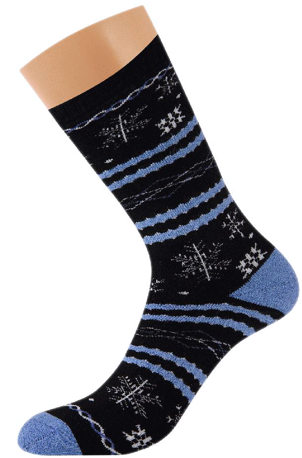 Носки женские Griff Снежинки, цвет: черный. D9AP42. Размер 35/38D9AP42Зимние эластичные женские носки Griff изготовлены с микроплюшем и оригинальным рисунком. Носки с комфортной резинкой, усилением пятки и мыска.
