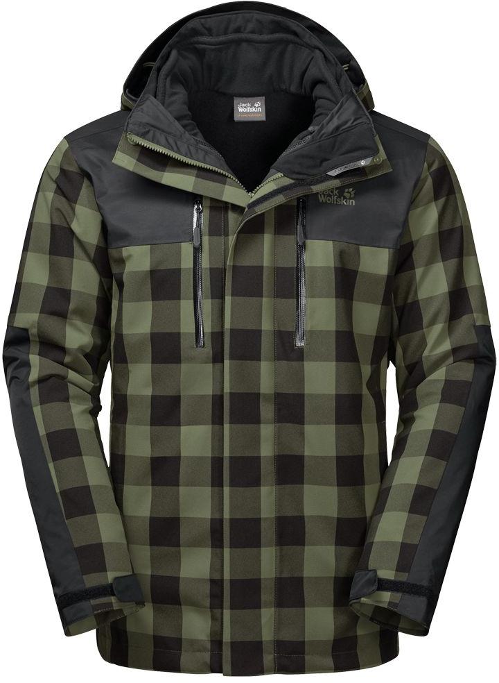 Куртка мужская Jack Wolfskin Timberwolf, цвет: зеленый, черный. 1109581-7825. Размер XXL (54)1109581-7825Куртка 3 в 1 от Jack Wolfskin «Timberwolf» с клетчатым принтом, прочными усиливающими элементами и теплой внутренней курткой из флиса. Универсальная куртка в стиле траппер будет согревать вас всю зиму. Внешняя куртка с эластичной вставкой на спине для большей легкости движений сшита из проверенного временем материала Texapore (Тексапор). Эта фантастическая куртка не позволит вам промокнуть даже при затяжном дожде или в метель. При этом ее невероятно комфортно носить. Она не оставляет ветру никаких шансов.Теплая внутренняя куртка из флиса и внешняя хардшелльная куртка соединены системной застежкой-молнией. Благодаря ей, обе куртки можно носить по отдельности. А если в вас вдруг проснется желание покорить вашу любимую гору, система проветривания на молниях позаботится о вашей свежести во время восхождения.