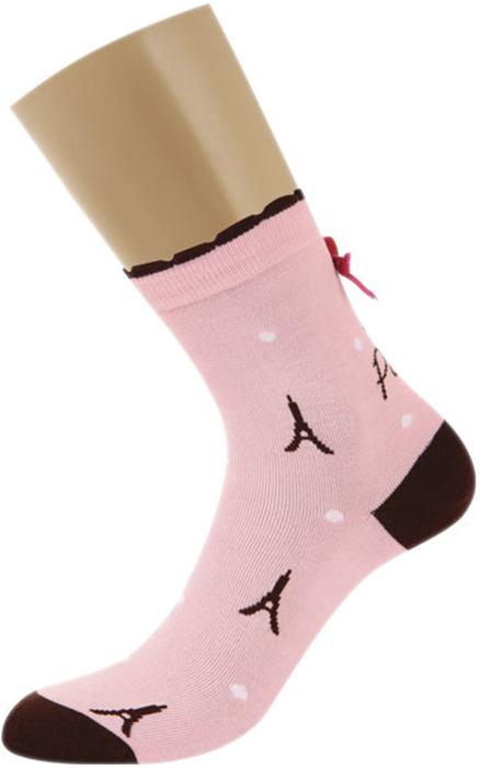 Носки женские Griff, цвет: розовый. FDM4. Размер 39/41FDM4Всесезонные женские носки Griff с оригинальным рисунком и бантиком на паголенке. С комфортной резинкой, усилением пятки и мыска, с кеттельным швом.