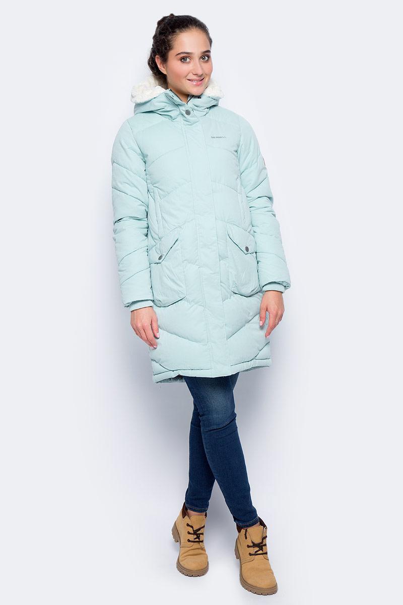 Куртка удлиненная женская Merrell Britannia, цвет: бирюзовый. A18AMRJAW02-N1. Размер 48A18AMRJAW02-N1