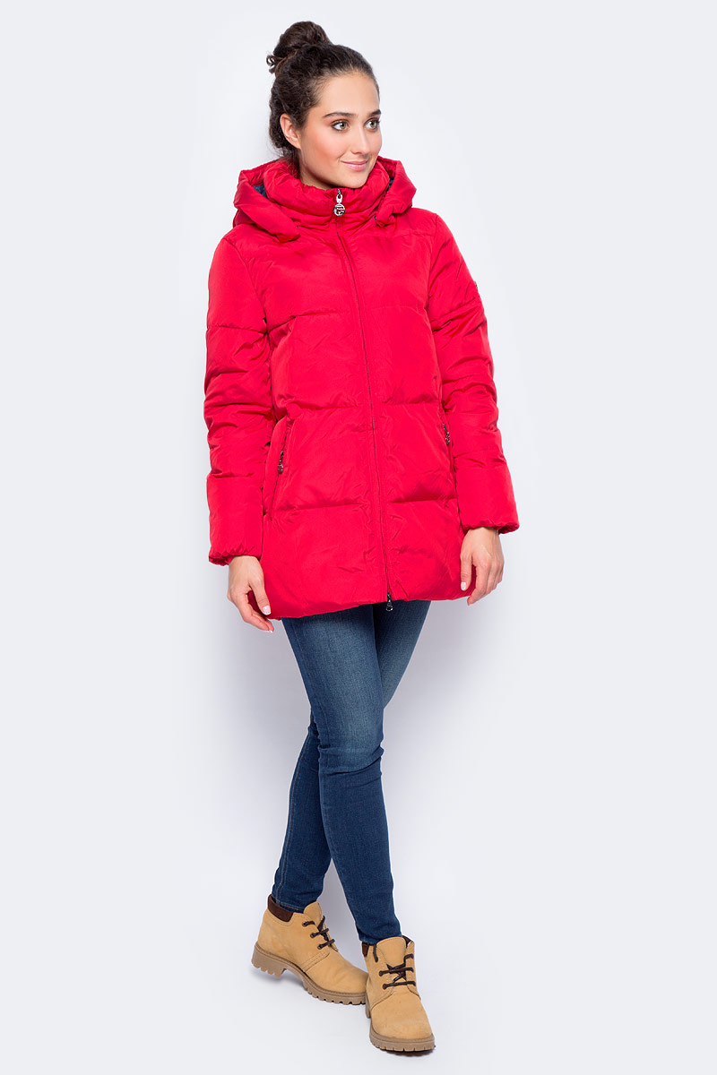 куртка женская finn flare цвет светло серый b17 12018 210 размер l 48 Куртка женская Finn Flare, цвет: красный. W17-12049_304. Размер L (48)