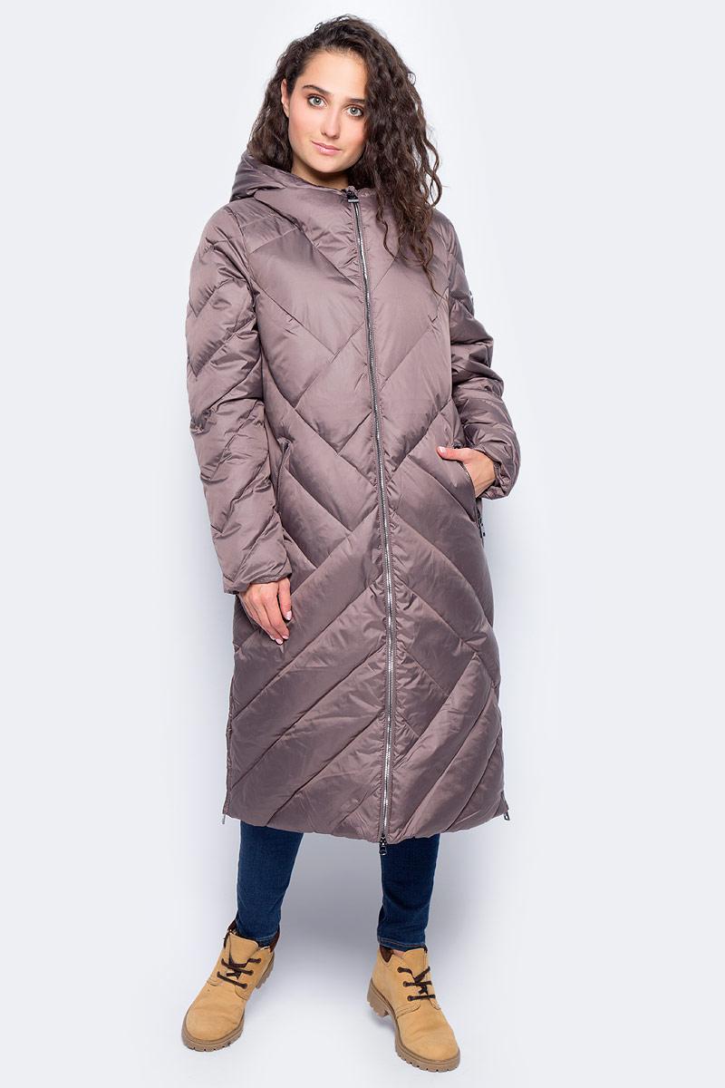 Пальто женское Finn Flare, цвет: серо-фиолетовый. W17-32007_809. Размер M (46)W17-32007_809Пальто Finn Flare изготовлено из качественного полиэстера с утеплителем. Модель с длинными рукавами и капюшоном застегивается на молнию. Пальто дополнено прорезными карманами на застежках-молниях. По бокам изделия расположены металлические молнии.