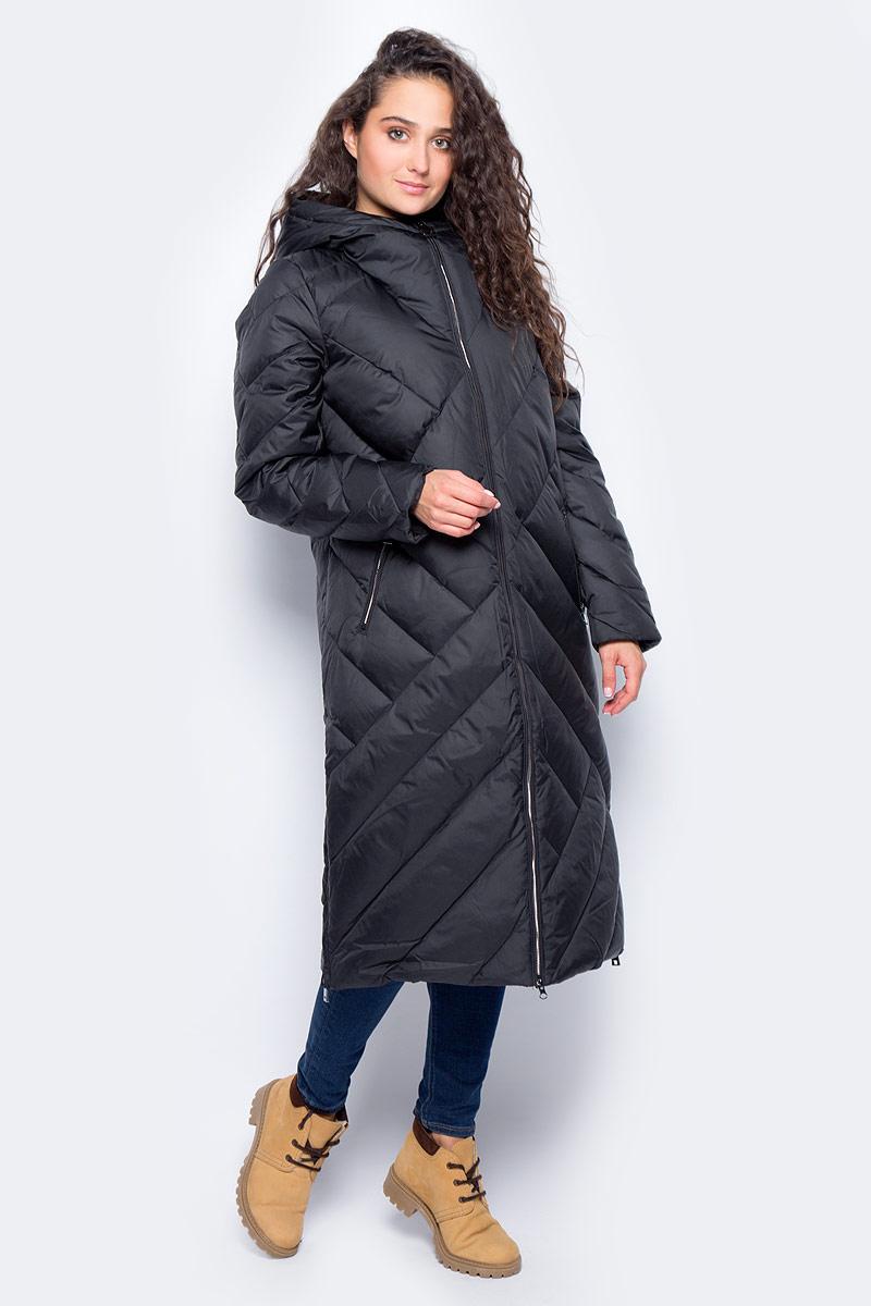 Пальто женское Finn Flare, цвет: черный. W17-32007_200. Размер M (46)W17-32007_200Пальто Finn Flare изготовлено из качественного полиэстера с утеплителем. Модель с длинными рукавами и капюшоном застегивается на молнию. Пальто дополнено прорезными карманами на застежках-молниях. По бокам изделия расположены металлические молнии.
