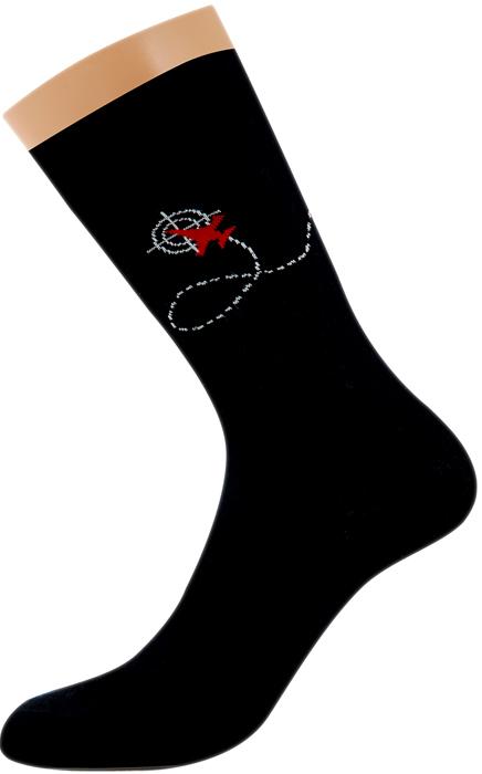 Носки мужские Griff Самолет, цвет: черный. FUF2. Размер 45/47FUF2Всесезонные мужские носки от Griff с рисунком на паголенке. С широкой резинкой, усиленными пяткой и мыском.