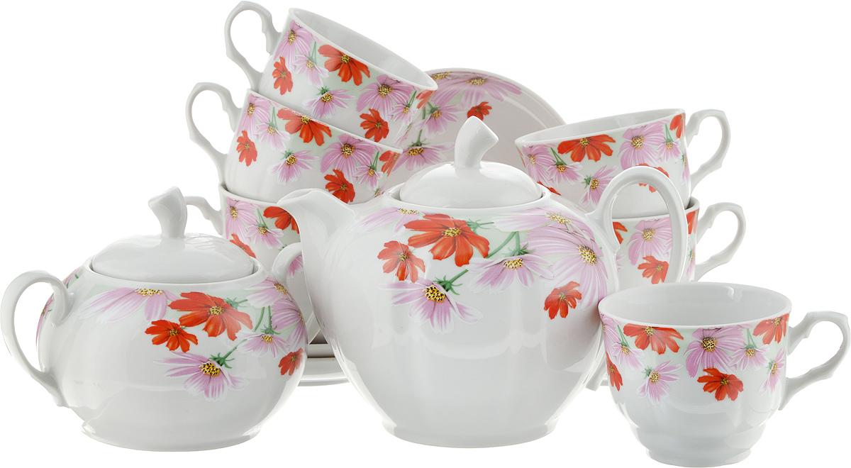 Сервиз чайный Космея, 14 предметов4С0372ф34Чайный сервиз Космея состоит из 6 чашек, 6 блюдец, сахарницы и заварочного чайника. Изделия выполнены из высококачественного фарфора и оформлены ярким цветочным рисунком. Форма сервиза - дыня.Изящный чайный сервиз прекрасно оформит стол к чаепитию и порадует вас элегантным дизайном и качеством исполнения.Объем чайника: 1 л.Высота чайника (без учета крышки): 10,5 см.Диаметр чайника (по верхнему краю): 9,5 см.Высота сахарницы (без учета крышки): 9 см.Диаметр сахарницы (по верхнему краю): 10 см.Объем сахарницы: 400 мл.Объем чашки: 220 мл.Диаметр чашки (по верхнему краю): 8,5 см.Высота чашки: 7 см.Диаметр блюдца: 14 см.Высота блюдца: 3 см.