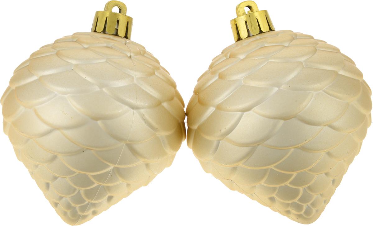Украшение новогоднее подвесное Magic Time Сосновые шишки, диаметр 6,7 см, 2 шт76076Новогоднее подвесное украшение Magic Time Сосновые шишки изготовлено из качественного полистирола. В наборе два однотонных шара с имитацией под шишки. Изделия дополнены удобной шляпкой с большой петлей.Елочная игрушка - символ Нового года. Она несет в себе волшебство и красоту праздника. Создайте в своем доме атмосферу веселья и радости, украшая всей семьей новогоднюю елку нарядными игрушками, которые будут из года в год накапливать теплоту воспоминаний.