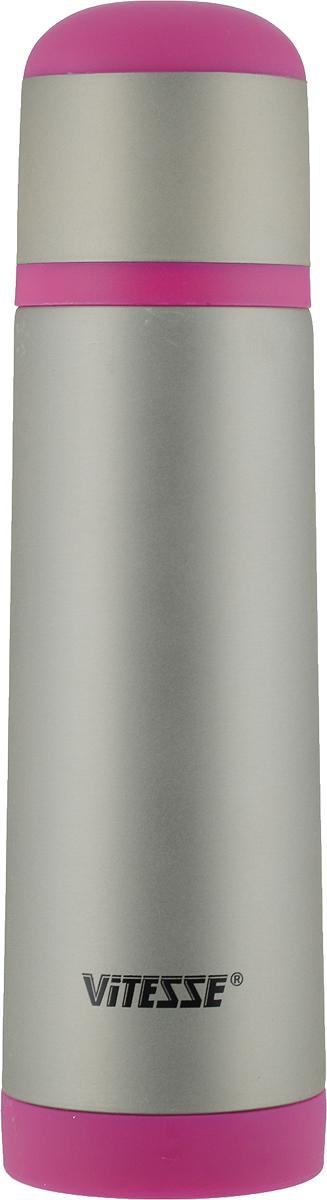 Термос Vitesse, цвет: серый, фуксия, 500 млVS-2624_серый, фуксияТермос Vitesse прост в использовании и многофункционален. Он изготовлен из высококачественной нержавеющей стали. Изделие предназначено для горячих и холодных напитков. Корпус термоса покрыт защитным цветным лаком. Удобная пробка с кнопкой позволяет наливать напитки, не отвинчивая саму пробку. Крышку термоса можно использовать в качестве чашки.Для устойчивости основание термоса снабжено противоскользящим силиконовым покрытием.Можно мыть в посудомоечной машине.Высота термоса (без учета крышки): 23,2 см.Диаметр горлышка: 4,5 см.Диаметр крышки-чашки (по верхнему краю): 6,3 см.Высота крышки-чашки: 6,5 см.
