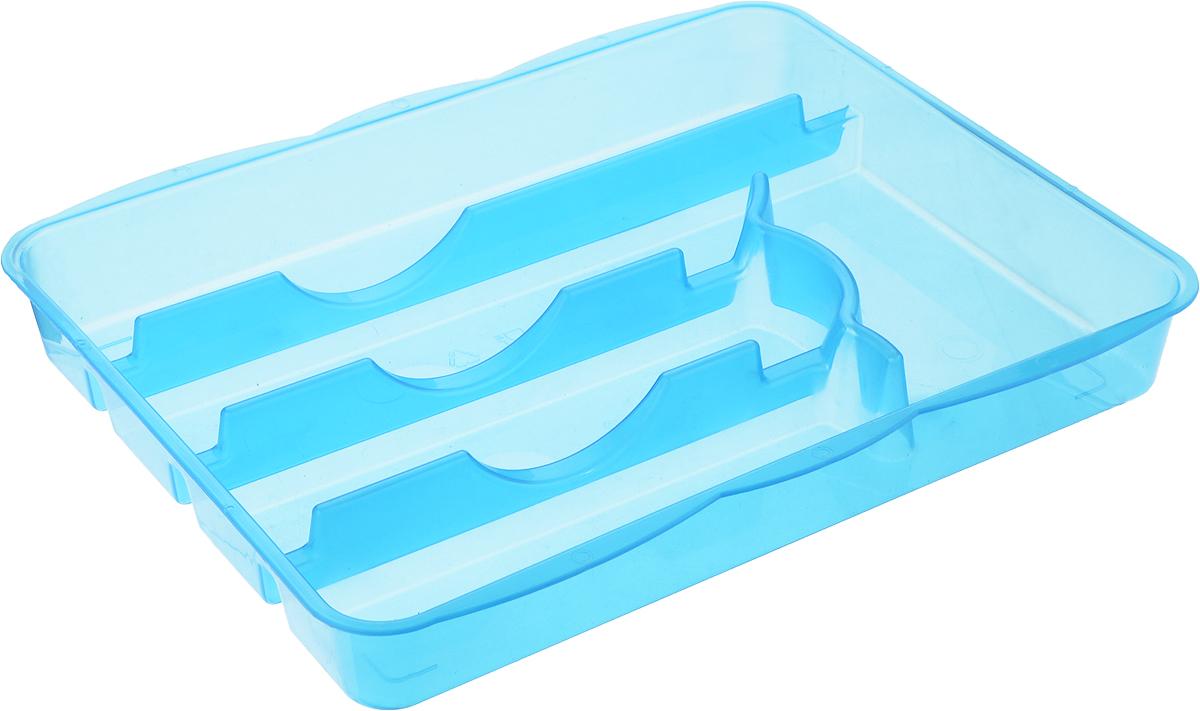 Лоток для столовых приборов Альтернатива, цвет: синий, 5 отделений, 31,5 х 26 х 4 смM1067_синийЛоток для столовых приборов Альтернатива изготовлен из высококачественного пищевого пластика. Он предназначен для выдвигающихся ящиков на кухне. Лоток имеет пять отделений: три отделения для вилок, ложек, ножей, одно маленькое отделение для чайных ложек и десертных вилок, одно большое отделение для остальных приборов.Размер отделений: Размер большого отделения: 30,5 х 5,5 см.Размер средних отделений: 22,5 см х 5,5 см.Размер маленького отделения: 17,5 х 8 см.Общий размер лотка: 31,5 х 25 х 4 см.