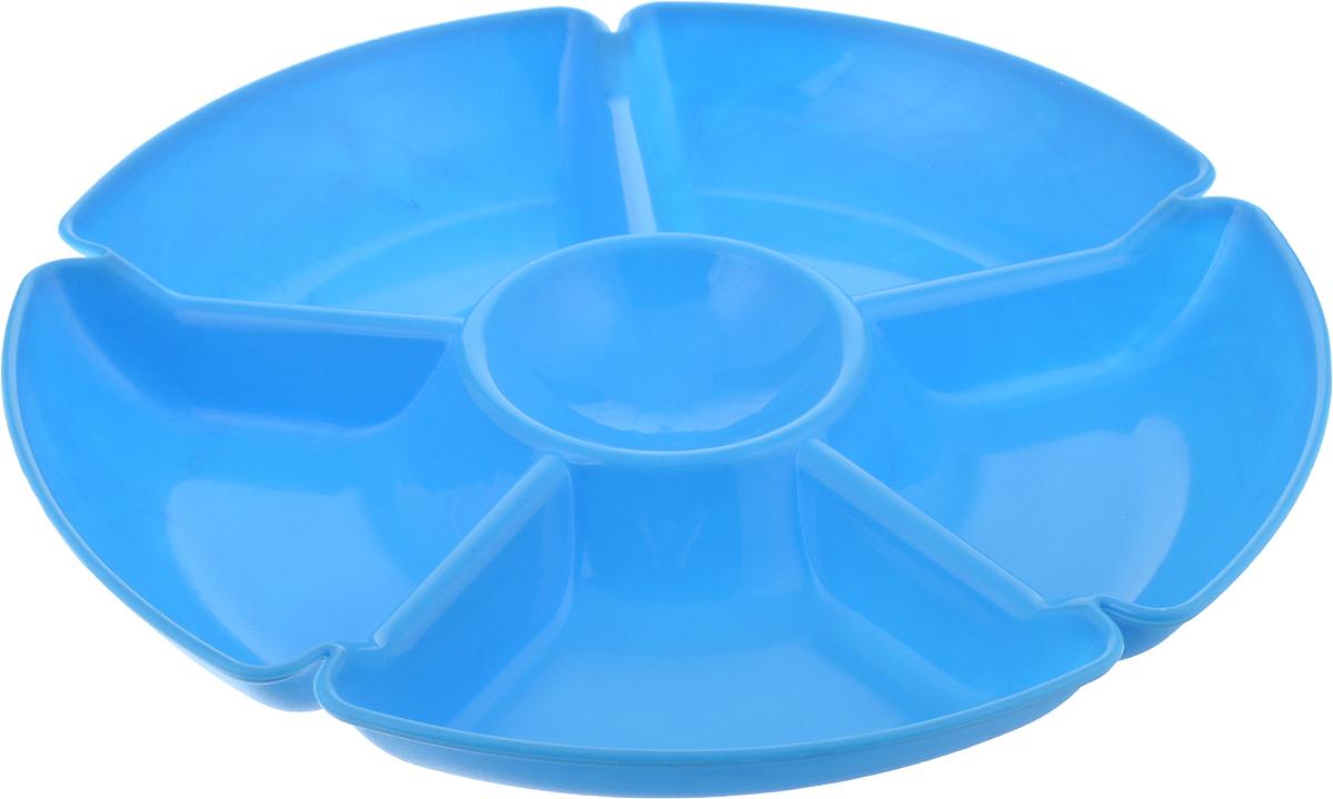 Менажница Gotoff, 6 секций, цвет: голубой, диаметр 27,5 смWTC-280_голубойПрактичная менажница Gotoff изготовлена из качественного полипропилена.Выполненная в однотонном дизайне, такая менажница станет отличным украшением вашего интерьера.
