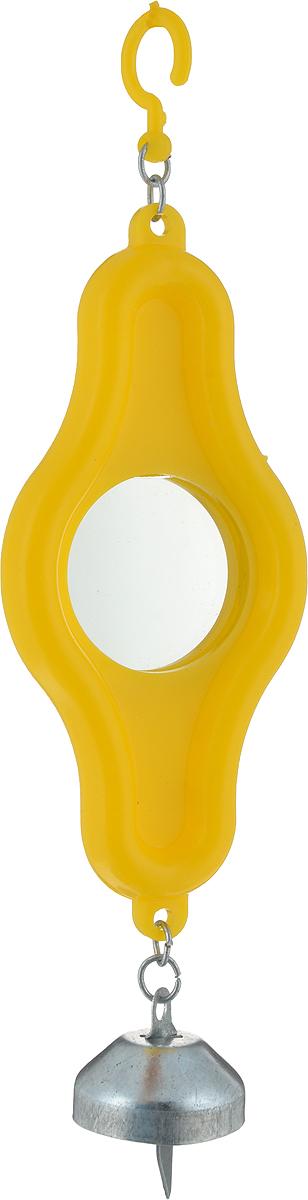 Зеркало для птиц Каскад, овальное, с колокольчиком, цвет: желтый33300003_желтыйОригинальное зеркало для птиц Каскад изготовлено из качественного пластика. Зеркало выполнено в овальной форме и крепится на крючок в любое удобное место. Низ модели дополнен небольшим звонким колокольчиком.Такая игрушка порадует как самих животных, так и их хозяев. Размеры игрушки:19 x 5,5 x 1,5 см.