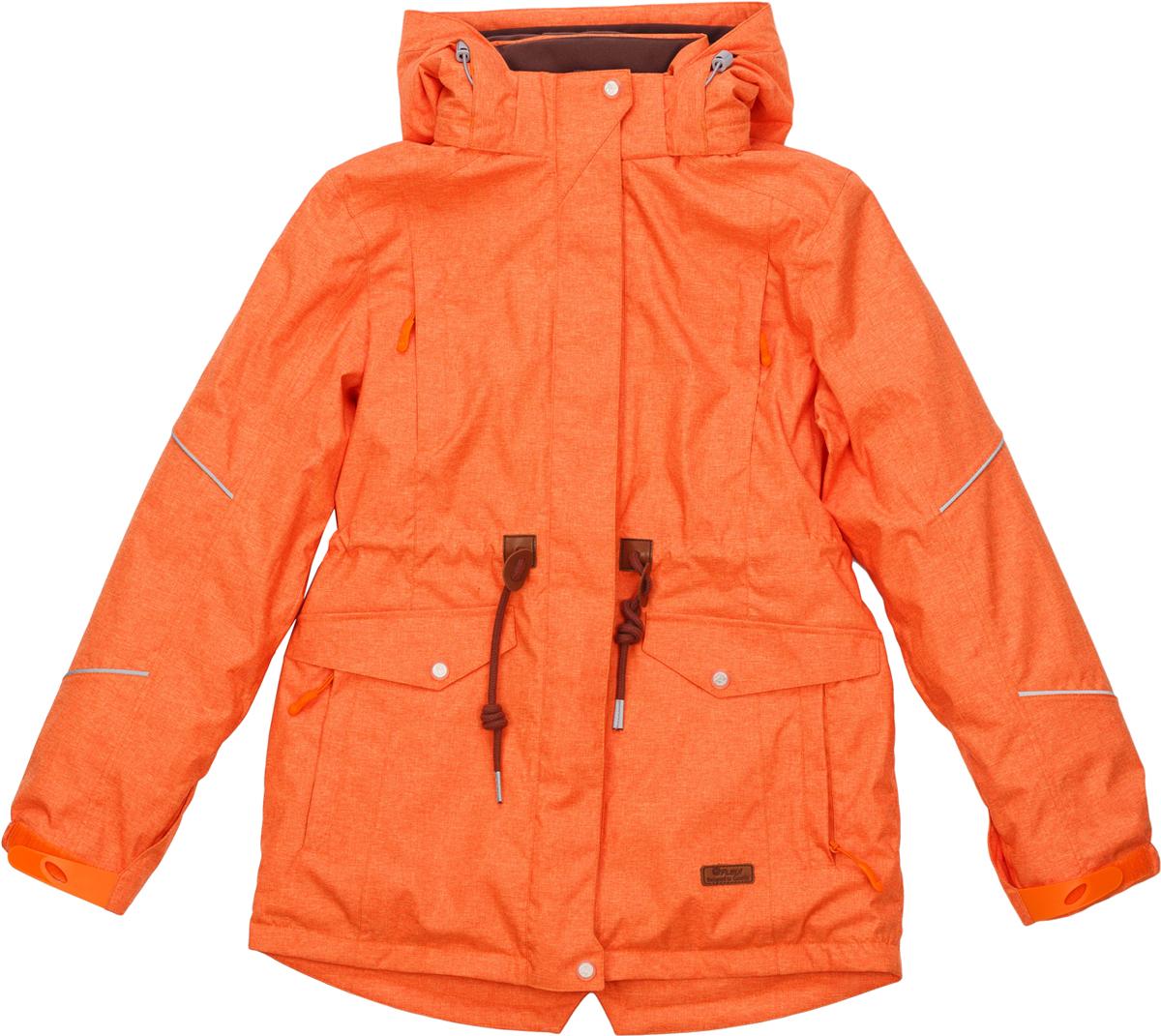 Куртка для девочки atPlay!, цвет: оранжевый. 1jk724. Размер 1581jk724Стильная и яркая куртка-парка от atPlay! для девочки идеальна для зимы с ее непостоянной погодой. Мембранная ткань с показателями 10000/10000 помогает противостоять высокой влажности, ветру и мокрому снегу. Внешний слой ткани обладает грязе- и водоотталкивающей способностью за счет покрытия Teflon. В зимней куртке atPlay! используется самый технологичный на сегодняшний день утеплитель Thinsulate. Его уникальные характеристики позволяют сохранять тепло в 3 раза лучше по сравнению с другими видами утеплителей. Парка дополнена рядом элементов для максимального комфорта в прохладную зимнюю погоду — регулируемый капюшон, мягкий воротник, снегозащитная юбка, утяжка по талии, эластичные манжеты, проклеенные швы. Куртка-парка станет незаменимой и для походов в школу, и на горнолыжном склоне, и на увлекательной прогулке.
