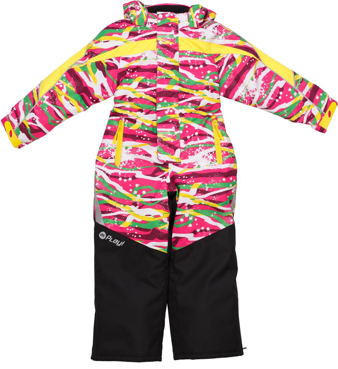 Комбинезон для девочки atPlay!, цвет: розовый. 1ov722. Размер 1161ov722Зимний комбинезон для девочки от atPlay! — идеальный выбор и для прогулки в парке, и для и занятий любительским спортом в морозную и ветреную погоду. Мембранная ткань верха с показателями 10000/10000 защитит от мокрого снега и ветра снаружи, при этом прекрасно отведет влагу изнутри и обеспечит дышащие свойства комбинезона. Грязе- и водоотталкивающее покрытие ткани Teflon создаст надежную защиту от мокрого снега и грязи. В качестве утеплителя используется утеплитель премиум класса — Thinsulate. Его уникальные характеристики позволяют сохранять тепло в 3 раза лучше по сравнению с другими видами утеплителей. Комбинезон atPlay! станет отличным вариантом для катания на лыжах, сноуборде и тюбингах, а также пригодится в течение всей зимы в качестве каждодневной одежды.