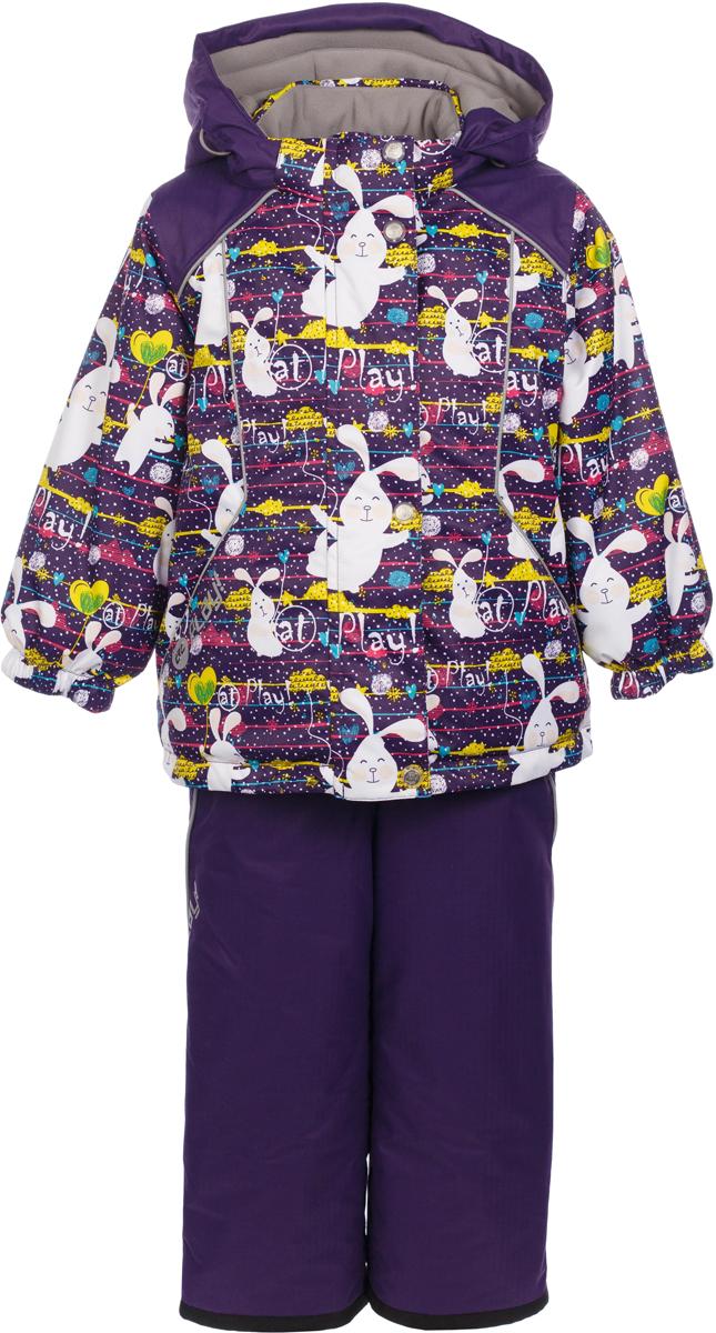Комплект верхней одежды для девочки atPlay!: куртка, полукомбинезон, цвет: фиолетовый. 1su721. Размер 86