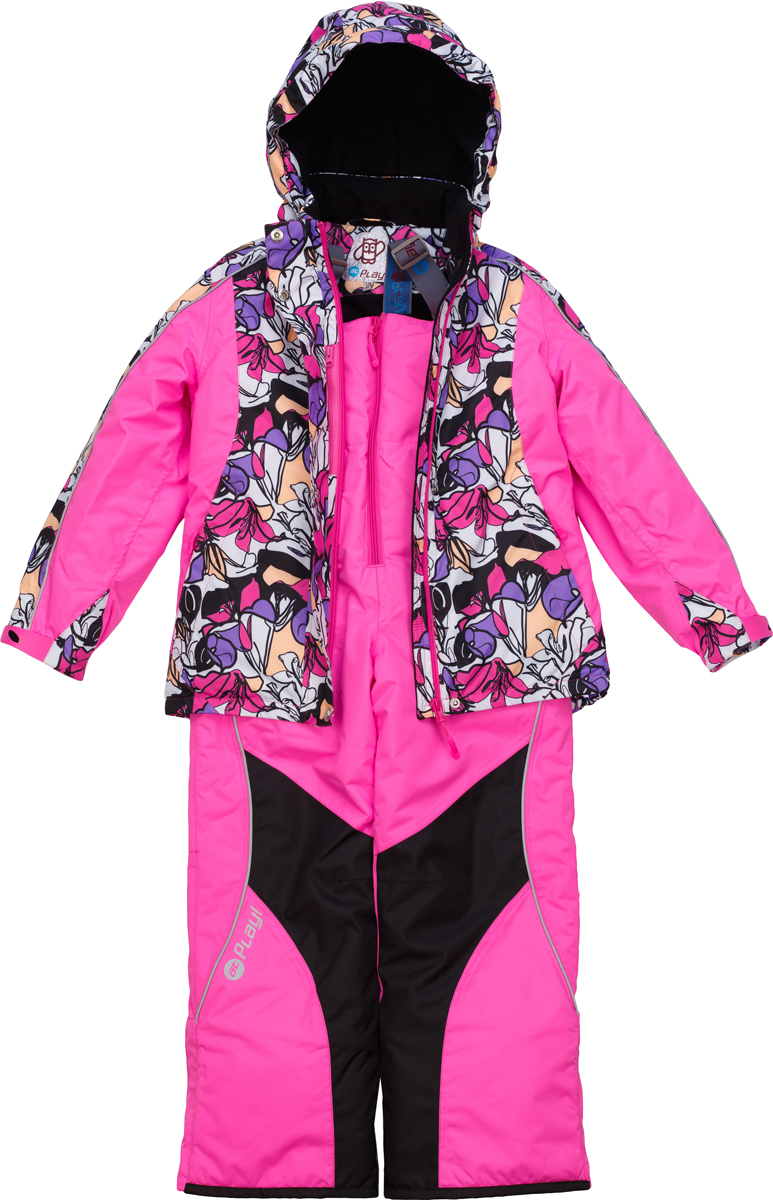 Комплект верхней одежды для девочки atPlay!: куртка, полукомбинезон, цвет: розовый. 1su725. Размер 1101su725Зимний костюм для девочки от atPlay!, состоящий из куртки и полукомбинезона, отвечает всем критериям идеальной детской одежды для зимних прогулок. Плотная ткань в сочетании с дышащими свойствами мембраны 10000/10000 (паропроницаемость 10000г/м.куб./24ч, водонепроницаемость 10000 мм/24ч.) позволит ребенку остаться в тепле и не даст вспотеть, как бы активно он не двигался, что позволяет ему заниматься зимним спортом. Грязе- и водоотталкивающее покрытие ткани Teflon создаст надежную защиту от мокрого снега и грязи. В качестве утеплителя используется утеплитель премиум класса — Thinsulate. Его уникальные характеристики позволяют сохранять тепло в 3 раза лучше по сравнению с другими видами утеплителей. Усиление особо прочной тканью в местах особого износа одежды atPlay! позволят кататься с горки даже без ледянки, а насыщенные уникальные принты зарядят ребенка позитивом на весь день!