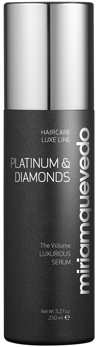 Miriam Quevedo Бриллиантовая cыворотка-люкс с Платиной (Platinum and Diamonds Luxurious Serum) 150 млMQ306Уникальная сыворотка без парабена, отрицательно влияющего на волосы, обеспечит мягкий и бережный уход. Входящие в состав уникально подобранные ингредиенты, такие как Бриллиантовая пудра, Платиновая пудра, термальные воды из горячих источников южного французского городка, Relipidize, Изофлавоны, придадут волосам необходимый объем, ослепительный блеск, предотвратят спутывание. Сыворотка обладает антистатическим действием, насыщает кожу головы здоровьем, защищает волосы от сухости при термической укладке.
