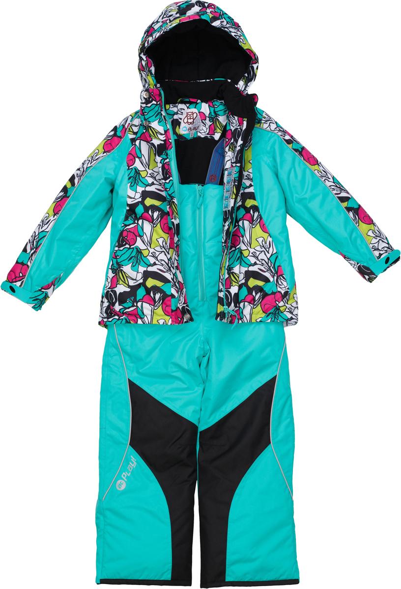 Комплект верхней одежды для девочки atPlay!: куртка, полукомбинезон, цвет: ментоловый. 1su725. Размер 1281su725Зимний костюм для девочки от atPlay!, состоящий из куртки и полукомбинезона, отвечает всем критериям идеальной детской одежды для зимних прогулок. Плотная ткань в сочетании с дышащими свойствами мембраны 10000/10000 (паропроницаемость 10000г/м.куб./24ч, водонепроницаемость 10000 мм/24ч.) позволит ребенку остаться в тепле и не даст вспотеть, как бы активно он не двигался, что позволяет ему заниматься зимним спортом. Грязе- и водоотталкивающее покрытие ткани Teflon создаст надежную защиту от мокрого снега и грязи. В качестве утеплителя используется утеплитель премиум класса — Thinsulate. Его уникальные характеристики позволяют сохранять тепло в 3 раза лучше по сравнению с другими видами утеплителей. Усиление особо прочной тканью в местах особого износа одежды atPlay! позволят кататься с горки даже без ледянки, а насыщенные уникальные принты зарядят ребенка позитивом на весь день!