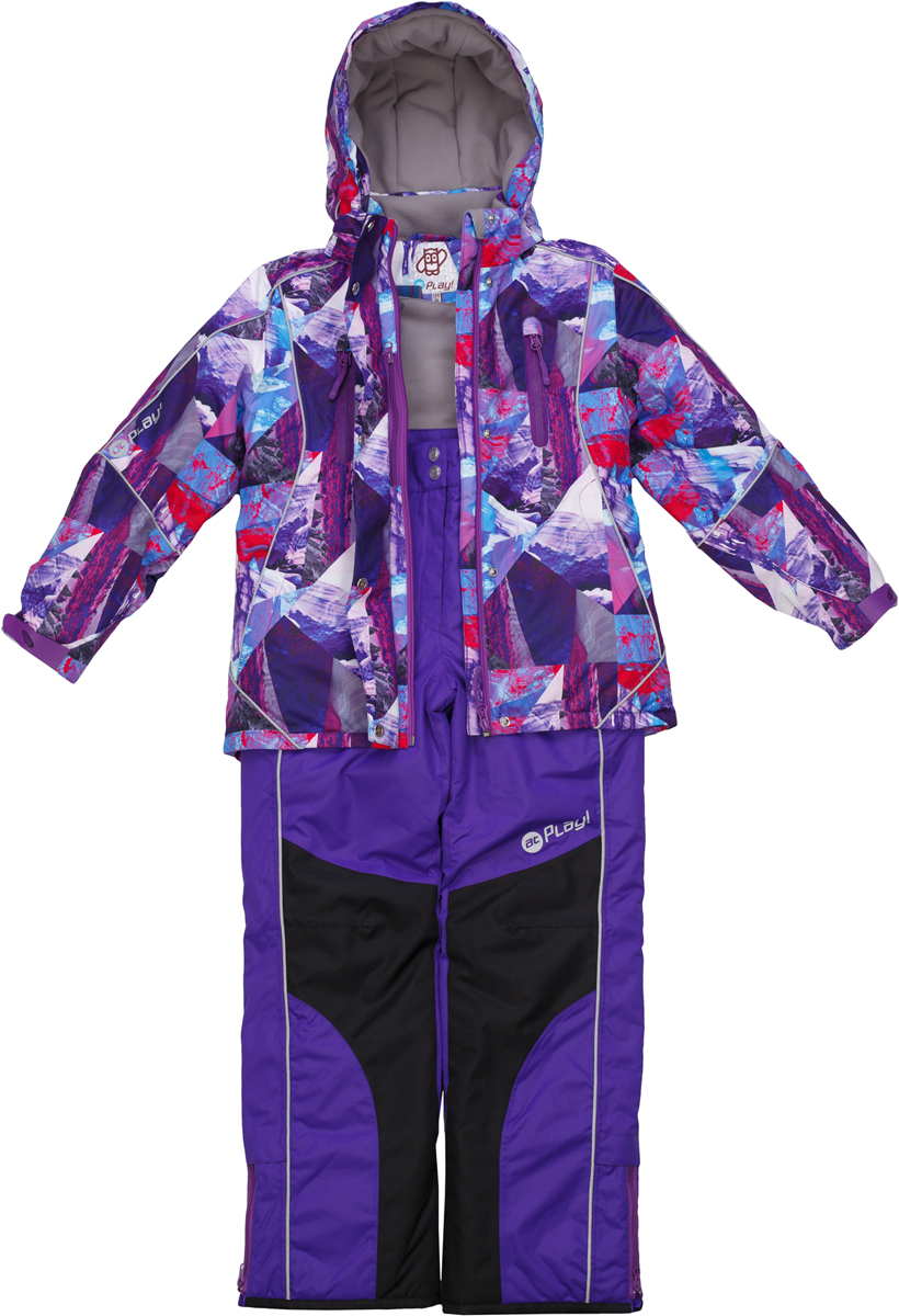 Комплект верхней одежды для девочки atPlay!: куртка, полукомбинезон, цвет: фиолетовый. 1su726. Размер 1401su726Зимний костюм для девочки от atPlay!, состоящий из куртки и полукомбинезона, отвечает всем требованиям современной технологичной верхней одежды. Ребенок в таком костюме будет чувствовать себя в безопасности, защищенным от перегрева и переохлаждения, промозглого ветра и мокрого снега. Мембранная ткань с показателями 10000/10000, хорошо отводит влагу от тела, поэтому, даже после самых активных прогулок, ребенок останется сухой и совсем не замерзнет. Внешний слой ткани обладает грязе- и водоотталкивающей способностью за счет покрытия Teflon. В костюме atPlay! используется утеплитель нового поколения Thinsulate. Он легкий и тонкий, благодаря чему удается избежать лишнего веса и объема, но его уникальные характеристики позволяют сохранять тепло в 3 раза лучше по сравнению с другими видами утеплителей. Важную роль в костюме atPlay! играют очень полезные и продуманные детали одежды, такие как противоснежные юбки, ветрозащитные планки, проклеенные швы, эластичные манжеты на рукавах, штрипки, удерживающие брючину внизу, светоотражающие элементы. Благодаря этим важным элементам костюм atPlay! станет идеальным выбором и для неспешных походов в парк, и для самых увлекательных и очень активных прогулок.