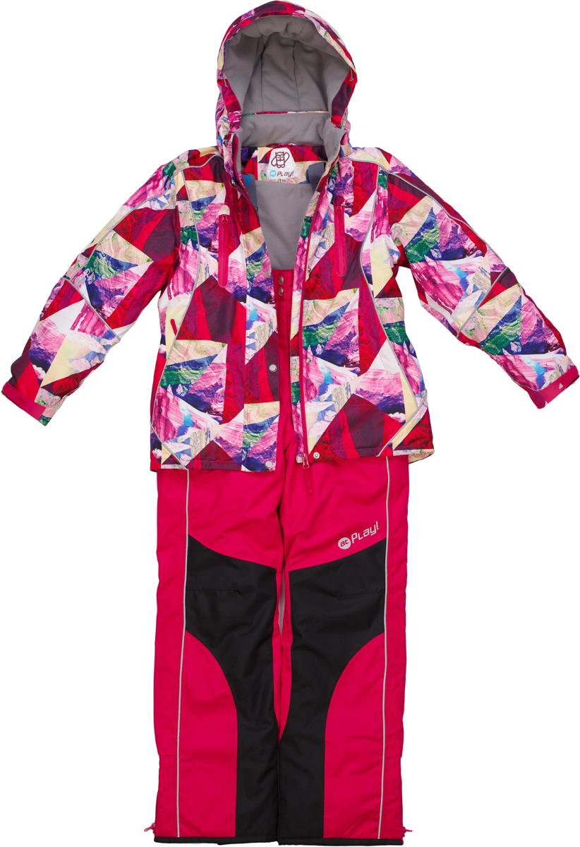 Комплект верхней одежды для девочки atPlay!: куртка, полукомбинезон, цвет: розовый, бордовый. 1su726. Размер 1461su726Зимний костюм для девочки от atPlay!, состоящий из куртки и полукомбинезона, отвечает всем требованиям современной технологичной верхней одежды. Ребенок в таком костюме будет чувствовать себя в безопасности, защищенным от перегрева и переохлаждения, промозглого ветра и мокрого снега. Мембранная ткань с показателями 10000/10000, хорошо отводит влагу от тела, поэтому, даже после самых активных прогулок, ребенок останется сухой и совсем не замерзнет. Внешний слой ткани обладает грязе- и водоотталкивающей способностью за счет покрытия Teflon. В костюме atPlay! используется утеплитель нового поколения Thinsulate. Он легкий и тонкий, благодаря чему удается избежать лишнего веса и объема, но его уникальные характеристики позволяют сохранять тепло в 3 раза лучше по сравнению с другими видами утеплителей. Важную роль в костюме atPlay! играют очень полезные и продуманные детали одежды, такие как противоснежные юбки, ветрозащитные планки, проклеенные швы, эластичные манжеты на рукавах, штрипки, удерживающие брючину внизу, светоотражающие элементы. Благодаря этим важным элементам костюм atPlay! станет идеальным выбором и для неспешных походов в парк, и для самых увлекательных и очень активных прогулок.