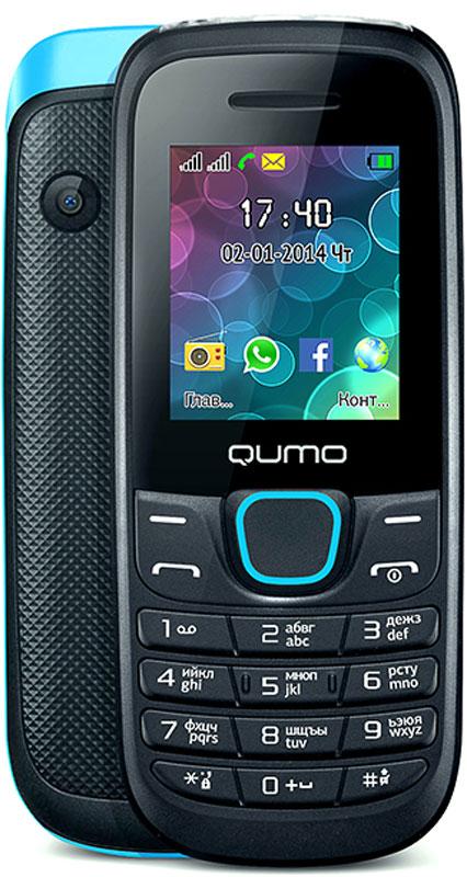 Qumo Push 184 GPRS, Black Blue20251Удобный, легкий и доступный каждому сотовый телефон QUMO Push 184 GPRS порадует вас своими возможностями и невысокой стоимостью. Телефон поддерживает одновременную работу двух SIM-карт, передачу файлов по Bluetooth, позволит слушать FM-радио, а также проигрывает MP3 и MP4 файлы.Наличие встроенного музыкального плеера оценят любители музыки, тем более что новый телефон позволяет взять с собой солидную медиатеку: гаджет оборудован слотом для карт памяти microSD.Также пользователи оценят яркий цветной экран, встроенную камеру и фонарик.Новый QUMO Push 184 GPRS оборудован полным набором приложений для ежедневного использования: органайзером, диктофоном, будильником, калькулятором.Встроенная Li-Pol батарея повышенной емкости - 800 мАч - позволит оставаться на связи до 2 недель.Телефон сертифицирован EAC и имеет русифицированную клавиатуру, меню и Руководство пользователя.