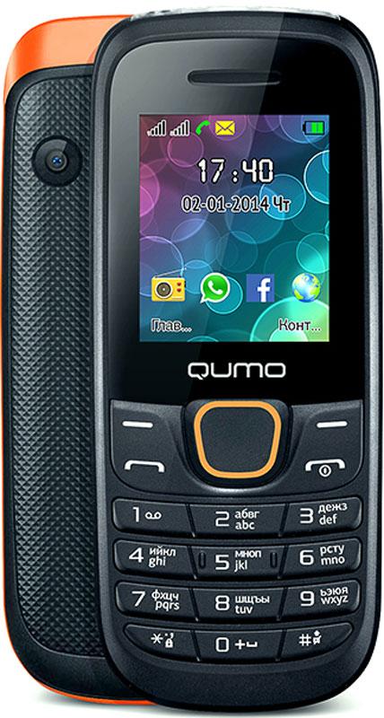 Qumo Push 184 GPRS, Black Orange20250Удобный, легкий и доступный каждому сотовый телефон QUMO Push 184 GPRS порадует вас своими возможностями и невысокой стоимостью. Телефон поддерживает одновременную работу двух SIM-карт, передачу файлов по Bluetooth, позволит слушать FM-радио, а также проигрывает MP3 и MP4 файлы.Наличие встроенного музыкального плеера оценят любители музыки, тем более что новый телефон позволяет взять с собой солидную медиатеку: гаджет оборудован слотом для карт памяти microSD.Также пользователи оценят яркий цветной экран, встроенную камеру и фонарик.Новый QUMO Push 184 GPRS оборудован полным набором приложений для ежедневного использования: органайзером, диктофоном, будильником, калькулятором.Встроенная Li-Pol батарея повышенной емкости - 800 мАч - позволит оставаться на связи до 2 недель.Телефон сертифицирован EAC и имеет русифицированную клавиатуру, меню и Руководство пользователя.
