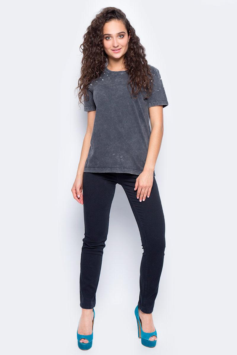 Футболка женская Only, цвет: серый. 15152457_Phantom. Размер M (46) футболка женская moodo цвет белый сиреневый серый l ts 2045 white размер m 46