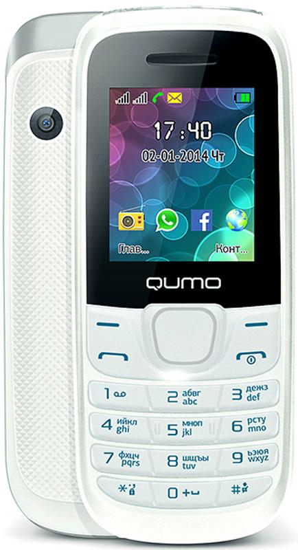 Qumo Push 184 GPRS, White20249Удобный, легкий и доступный каждому сотовый телефон QUMO Push 184 GPRS порадует вас своими возможностями и невысокой стоимостью. Телефон поддерживает одновременную работу двух SIM-карт, передачу файлов по Bluetooth, позволит слушать FM-радио, а также проигрывает MP3 и MP4 файлы.Наличие встроенного музыкального плеера оценят любители музыки, тем более что новый телефон позволяет взять с собой солидную медиатеку: гаджет оборудован слотом для карт памяти microSD.Также пользователи оценят яркий цветной экран, встроенную камеру и фонарик.Новый QUMO Push 184 GPRS оборудован полным набором приложений для ежедневного использования: органайзером, диктофоном, будильником, калькулятором.Встроенная Li-Pol батарея повышенной емкости - 800 мАч - позволит оставаться на связи до 2 недель.Телефон сертифицирован EAC и имеет русифицированную клавиатуру, меню и Руководство пользователя.
