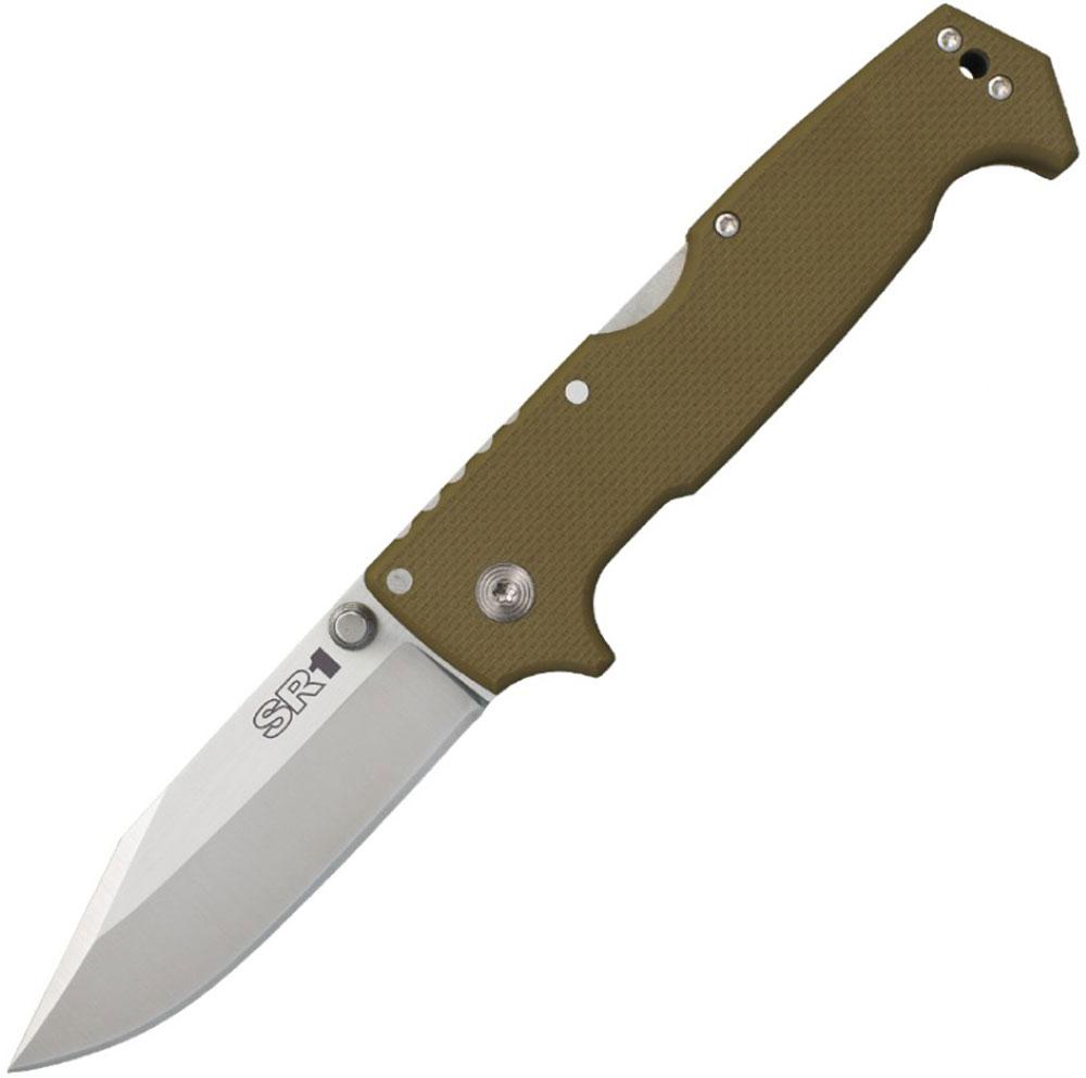 Нож складной Cold Steel SR1, цвет: коричневый, длина клинка 10,1 смCS/62LСкладной нож Cold Steel SR1 OD Green. Нож SRK компании Cold Steel является флагманом в линейке тактических ножей более 25 лет. Поэтому при создании нового тактического складного ножа Andrew Demko черпал вдохновение именно в легендарном SRK (Survival Rescue Knife).Нож Cold Steel SR1 имеет фирменный минималистский стиль Demko, без лишних расцветок и приукрашиваний, простой, функциональный, без излишеств, практичный дизайн. Мощный клинок толщиной под 5мм., изготовленный из американской нержавеющей порошковой стали премиум класса CPM-S35VN, наследует форму основополагающей версии и предназначен для самой тяжелой работы в суровых условиях. Рукоять оливково-зеленой расцветки (Olive Drab Green) выполнена из высококачественного Американского G-10 с термообработанными стальными вкладышами по контору замка. Дизайн рукояти предусматривает, отверстие под темляк и переставляемую стальную клипсу. Для дополнительной надежности и спокойствия, нож SR1 оснащен фиксирующим лезвие замком Tri-Ad Lock, проверенным временем и доказавшим свою эффективность в самых изощренных тестах и реальных жизненных ситуациях.