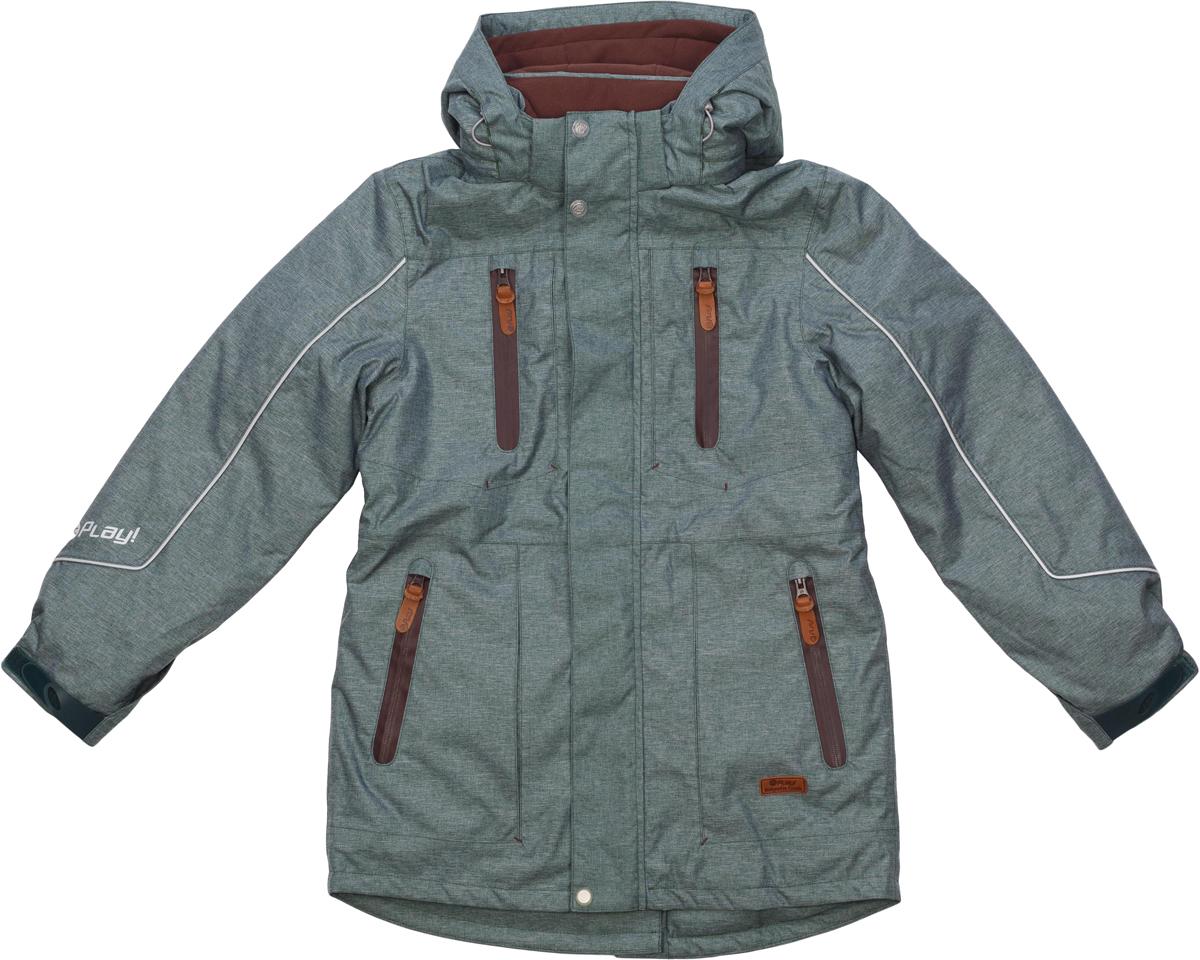 Куртка для мальчика atPlay!, цвет: хаки. 2jk734. Размер 1582jk734Куртка-парка для мальчика от atPlay! — стильный и практичный вариант для зимы с ее непостоянной погодой. Мембранная ткань с показателями 10000/10000 помогает противостоять высокой влажности, ветру и мокрому снегу. Внешний слой ткани обладает грязе- и водоотталкивающей способностью за счет покрытия Teflon. В зимней куртке atPlay! используется самый технологичный на сегодняшний день утеплитель Thinsulate. Его уникальные характеристики позволяют сохранять тепло в 3 раза лучше по сравнению с другими видами утеплителей. Парка дополнена рядом элементов для максимального комфорта в прохладную зимнюю погоду — регулируемый капюшон, мягкий воротник, снегозащитная юбка, утяжка по талии, эластичные манжеты, проклеенные швы. Куртка-парка станет незаменимой и для походов в школу, и на горнолыжном склоне, и на увлекательной прогулке.