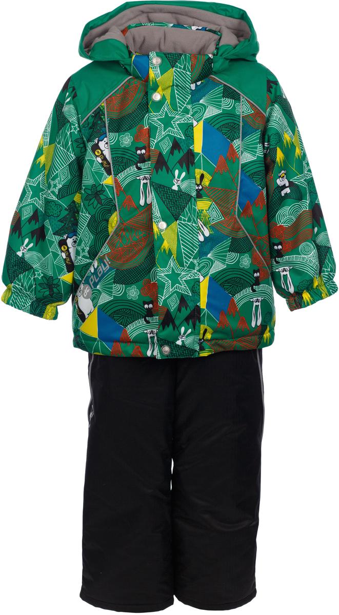 Комплект верхней одежды для мальчика atPlay!: куртка, полукомбинезон, цвет: зеленый. 2su731. Размер 922su731Зимний костюм для мальчика от atPlay! – это удобная куртка и полукомбинезон. В нем не страшны самые лютые морозы! Все швы проклеены, по низу куртки – утяжка, так что никакой мороз не проберется внутрь. Комплект выполнена из мембранной ткани, хорошо защищающей от мокрого снега, порывов ветра и резкой смены погоды. Благодаря дышащими свойствам мембраны 10000/10000, хорошо отводит влагу от тела, поэтому, даже после самых активных прогулок и игр на свежем зимнем воздухе, ребенок останется сухой и совсем не замерзнет. В костюме atPlay! используется утеплитель нового поколения Thinsulate. Он легкий и тонкий, благодаря чему удается избежать лишнего веса и объема, но его уникальные характеристики позволяют сохранять тепло в 3 раза лучше по сравнению с другими видами утеплителей. Благодаря яркой расцветке вы не потеряете из виду своего ребенка. А все свойства, присущие мембранной одежде, позволят наслаждаться зимними прогулками даже в самую морозную погоду.