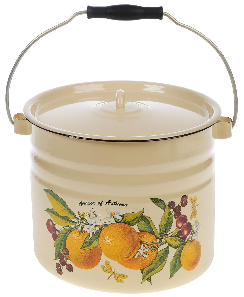 Ведро Лысьвенские эмали Апельсин с крышкой, 9 л ведро эмалированное кмк с крышкой с поддоном 10 л