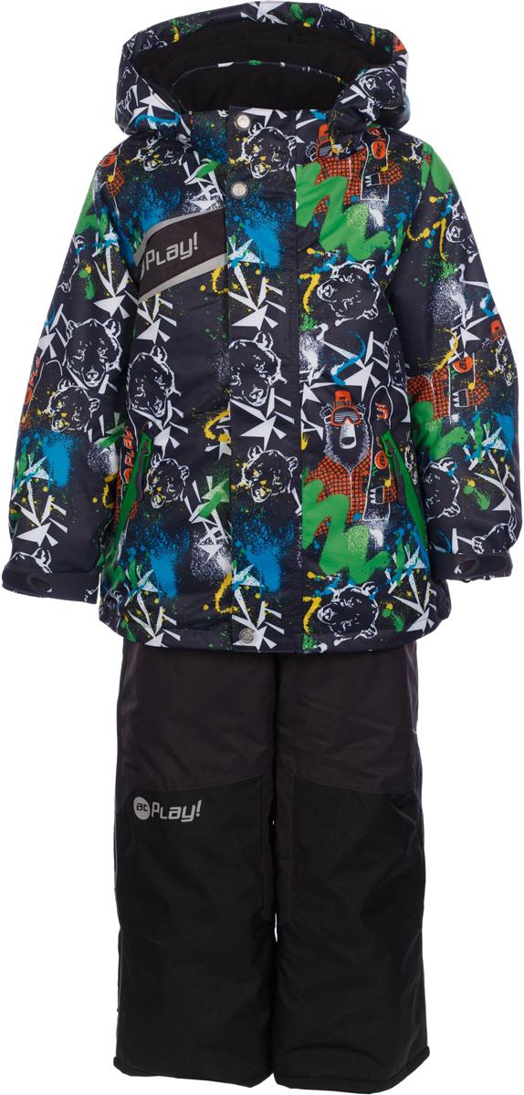 Комплект верхней одежды для мальчика atPlay!: куртка, полукомбинезон, цвет: темно-серый. 2su735. Размер 1162su735Зимний костюм для мальчика от atPlay!, состоящий из куртки и полукомбинезона, отвечает всем критериям идеальной детской одежды для зимних прогулок. Плотная ткань в сочетании с дышащими свойствами мембраны 10000/10000 (паропроницаемость 10000г/м.куб./24ч, водонепроницаемость 10000 мм/24ч.) позволит ребенку остаться в тепле и не даст вспотеть, как бы активно он не двигался, что позволяет ему заниматься зимним спортом. Грязе- и водоотталкивающее покрытие ткани Teflon создаст надежную защиту от мокрого снега и грязи. В качестве утеплителя используется утеплитель премиум класса — Thinsulate. Его уникальные характеристики позволяют сохранять тепло в 3 раза лучше по сравнению с другими видами утеплителей. Усиление особо прочной тканью в местах особого износа одежды atPlay! позволят кататься с горки даже без ледянки, а насыщенные уникальные принты зарядят ребенка позитивом на весь день!
