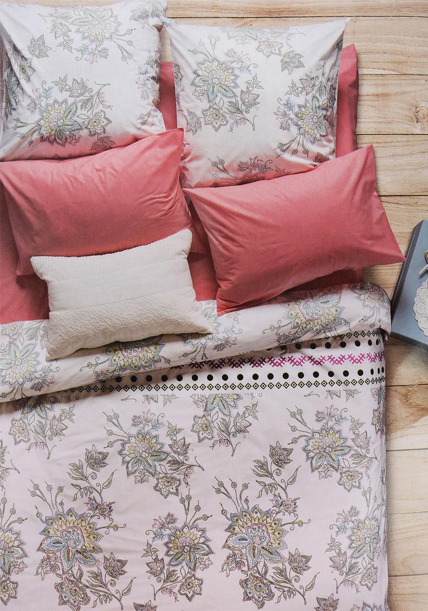 Комплект белья Sova & Javoronok Магнолия, 2-спальный, наволочки 50x70, цвет: белый, коралловый, розовый02030816263Комплект Sova & Javoronok Магнолия состоит из пододеяльника, простыни и двух наволочек. Постельное белье выполнено из поплина. Этот высококачественный материал отличается своей прочностью, экологичностью и мягкостью. Легкая и гигроскопическая ткань практически не мнется, поэтому белье не собирается в грубые складки даже во время самого беспокойного сна. Поплин приятен телу, поэтому не вызывает раздражения или аллергии и при этом обеспечивает максимально комфортный сон. Комплект постельного белья из поплина, в отличии от постельного белья из бязи, гораздо тоньше и имеет благородный блеск, который придает ему особую изысканность. Постельное белье не потеряет свой цвет и текстуру даже после многочисленных стирок.Советы по выбору постельного белья от блогера Ирины Соковых. Статья OZON Гид