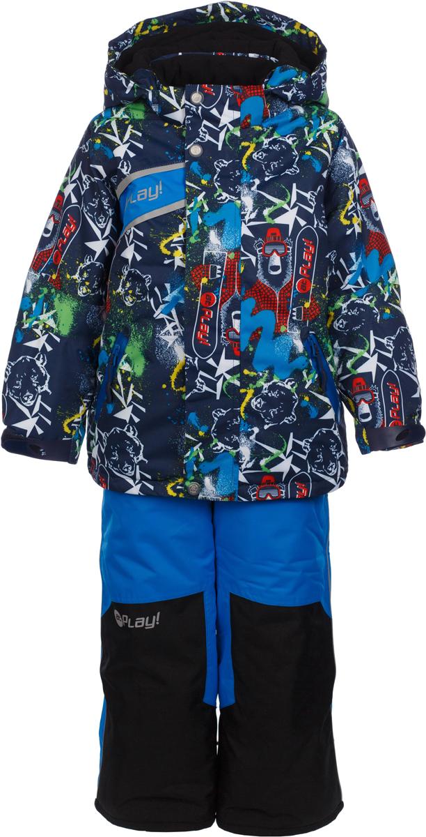 Комплект верхней одежды для мальчика atPlay!: куртка, полукомбинезон, цвет: темно-синий. 2su735. Размер 1042su735Зимний костюм для мальчика от atPlay!, состоящий из куртки и полукомбинезона, отвечает всем критериям идеальной детской одежды для зимних прогулок. Плотная ткань в сочетании с дышащими свойствами мембраны 10000/10000 (паропроницаемость 10000г/м.куб./24ч, водонепроницаемость 10000 мм/24ч.) позволит ребенку остаться в тепле и не даст вспотеть, как бы активно он не двигался, что позволяет ему заниматься зимним спортом. Грязе- и водоотталкивающее покрытие ткани Teflon создаст надежную защиту от мокрого снега и грязи. В качестве утеплителя используется утеплитель премиум класса — Thinsulate. Его уникальные характеристики позволяют сохранять тепло в 3 раза лучше по сравнению с другими видами утеплителей. Усиление особо прочной тканью в местах особого износа одежды atPlay! позволят кататься с горки даже без ледянки, а насыщенные уникальные принты зарядят ребенка позитивом на весь день!