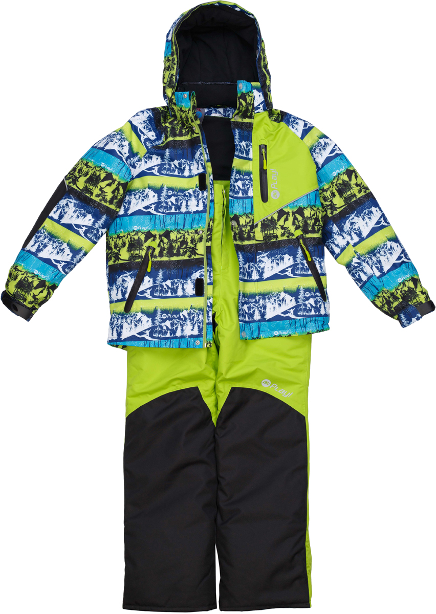 Комплект верхней одежды для мальчика atPlay!: куртка, полукомбинезон, цвет: салатовый. 2su736. Размер 1582su736Зимний костюм для мальчика от atPlay!, состоящий из куртки и полукомбинезона, отвечает всем требованиям современной технологичной верхней одежды. Ребенок в таком костюме будет чувствовать себя в безопасности, защищенным от перегрева и переохлаждения, промозглого ветра и мокрого снега. Мембранная ткань с показателями 10000/10000, хорошо отводит влагу от тела, поэтому, даже после самых активных прогулок, ребенок останется сухой и совсем не замерзнет. Внешний слой ткани обладает грязе- и водоотталкивающей способностью за счет покрытия Teflon. В костюме atPlay! используется утеплитель нового поколения Thinsulate. Он легкий и тонкий, благодаря чему удается избежать лишнего веса и объема, но его уникальные характеристики позволяют сохранять тепло в 3 раза лучше по сравнению с другими видами утеплителей. Важную роль в костюме atPlay! играют очень полезные и продуманные детали одежды, такие как противоснежные юбки, ветрозащитные планки, проклеенные швы, эластичные манжеты на рукавах, штрипки, удерживающие брючину внизу, светоотражающие элементы. Благодаря этим важным элементам костюм atPlay! станет идеальным выбором и для неспешных походов в парк, и для самых увлекательных и очень активных прогулок.