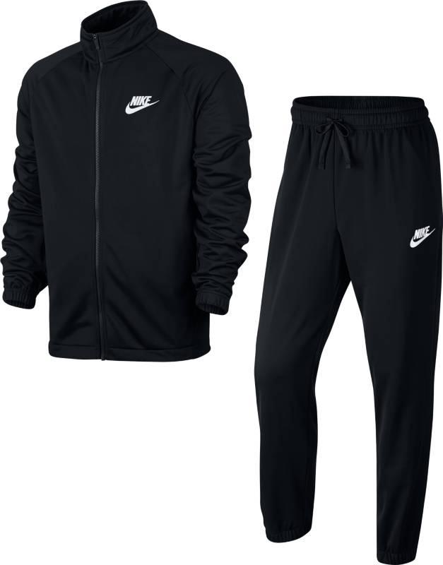 Спортивный костюм мужской Nike Nsw Trk Suit Pk Oh Basic, цвет: черный. 861780-010. Размер S (44/46)861780-010Мужской спортивный костюм Nike Sportswear, состоящий из олимпийки и брюк, из мягкого трикотажа с классическим силуэтом, анатомическим кроем рукавов и идеальной посадкой — удобная базовая модель. Трикотажный материал с начесом по изнаночной стороне для мягкости.