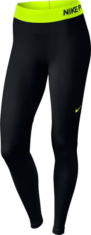 Тайтсы для фитнеса женские Nike Pro Cool Tight, цвет: черный, салатовый. 725477-017. Размер L (48/50)725477-017Стильные женские тайтсы Nike Thermal Tight, изготовленные из износостойкого приятного на ощупь эластичного материала, предназначены специально для фитнеса и бега. Модель с комфортными плоскими швами оснащена эластичным поясом. Тайтсы идеально прилегают к телу, что придает им повышенные аэродинамические возможности, и подчеркивает достоинства фигуры, абсолютно не сковывая движений.Сзади нижняя часть штанин выполнена из тонкой ткани с мелкой перфорацией для хорошей вентиляции и терморегуляции.Отличный вариант для активных тренировок.