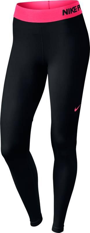 Тайтсы для фитнеса женские Nike Pro Cool Tight, цвет: черный, розовый. 725477-016. Размер S (42/44)725477-016Стильные женские тайтсы Nike Thermal Tight, изготовленные из износостойкого приятного на ощупь эластичного материала, предназначены специально для фитнеса и бега. Модель с комфортными плоскими швами оснащена эластичным поясом. Тайтсы идеально прилегают к телу, что придает им повышенные аэродинамические возможности, и подчеркивает достоинства фигуры, абсолютно не сковывая движений.Сзади нижняя часть штанин выполнена из тонкой ткани с мелкой перфорацией для хорошей вентиляции и терморегуляции.Отличный вариант для активных тренировок.