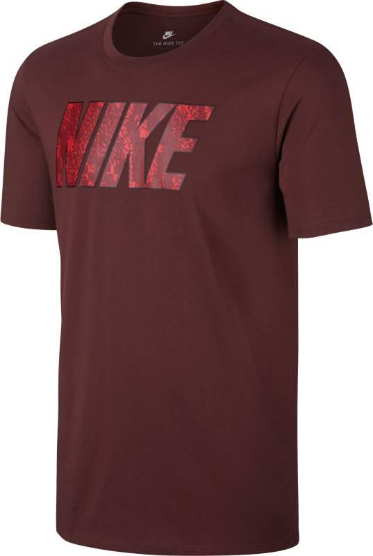 Футболка мужская Nike Nsw Tee Prnt Pk Blk, цвет: бордовый. 874791-619. Размер S (44/46)874791-619Мужская футболка Nike Sportswear из мягкого хлопка с вырезом горловины-лодочка и яркой графикой Nike на груди. Мягкая и комфортная хлопковая ткань.