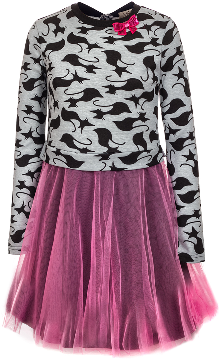 Платье для девочки M&D, цвет: мультиколор. WJD27034MS22. Размер 134WJD27034MS22